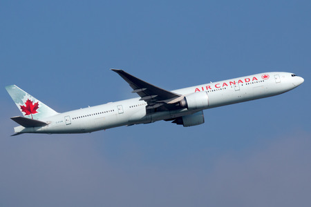 Frankfurt, Germany - September 17, 2014: An Air Canada Boeing 777 taking off from Frankfurt International Airport (FRA). Air Canada is the Canadian flag carrier and largest airline with some 172 planes. Editorial