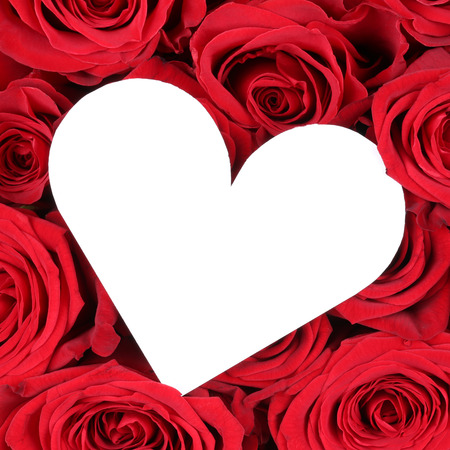 wedding wishes: Red roses with heart as a symbol of love on Valentines day or wedding Stock Photo