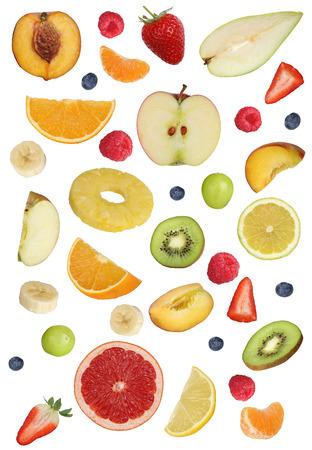 naranja fruta: Collage de las frutas como las manzanas de frutas, naranjas, kiwi, melocot�n, pl�tano y fresa