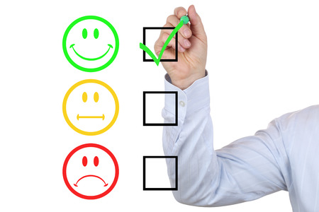 Successful business man choosing good service quality