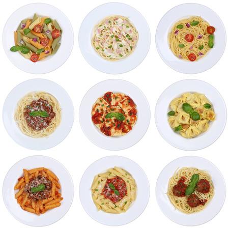 Het verzamelen van spaghetti, ravioli noedels maaltijd die op een plaat van boven