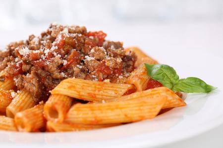 bolognaise: Penne Bolognese or Bolognaise sauce noodles pasta meal on a plate Stock Photo
