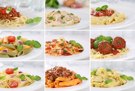 Collection of spaghetti pasta noodles food meals with tomatoes and basil