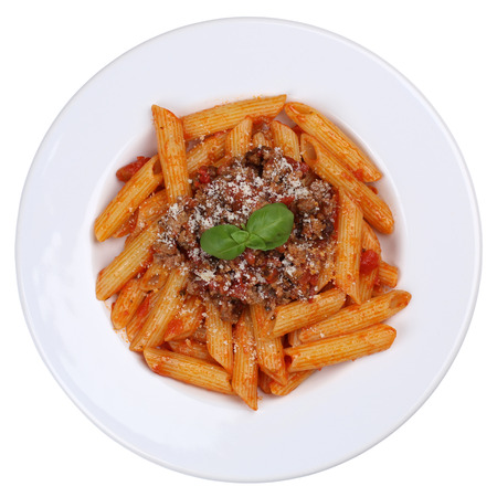bolognaise: Penne Bolognese or Bolognaise sauce noodles pasta meal isolated on a plate from above