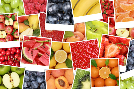 apples and oranges: Fruits background with apples, oranges, lemons, banana and strawberry Stock Photo