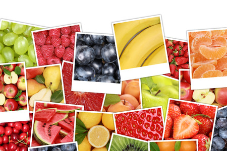 copyspace: Fruits background with apples, oranges, lemons, banana, strawberry and copyspace Stock Photo