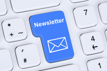 Sending newsletter on internet for business marketing campaign with letter symbol 写真素材