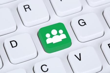 Social media or network internet online friendship on computer keyboard concept photo