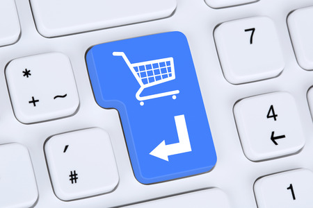 Online shopping order e-commerce internet shop concept with shopping cart