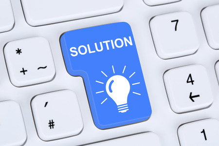 finding: Finding solution for problem conflict button on internet computer Stock Photo