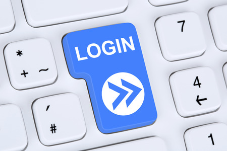 Login button submit with password on computer