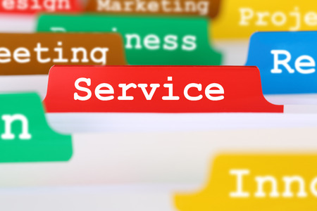 good service: Good service quality text in office on register in business services documents