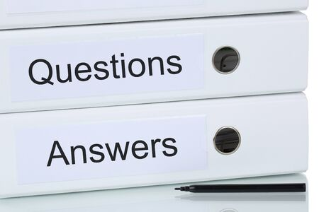 quality questions: Question and answer problem solution business concept