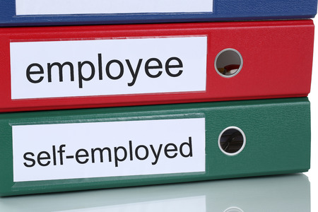 selfemployed: Employee or self-employed occupation career business concept in office Stock Photo