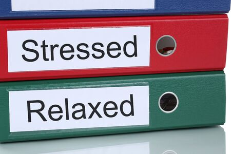 destress: Stressed and relaxed pressure in job healthcare in office business concept Stock Photo