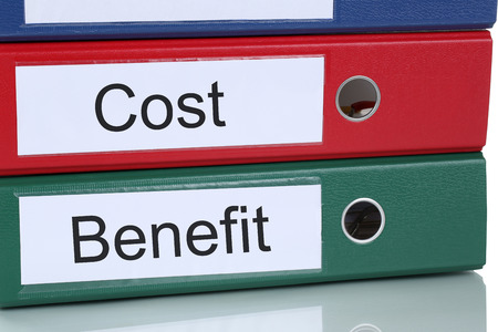 profitability: Cost benefit calculation analysis expenses finances in company business concept