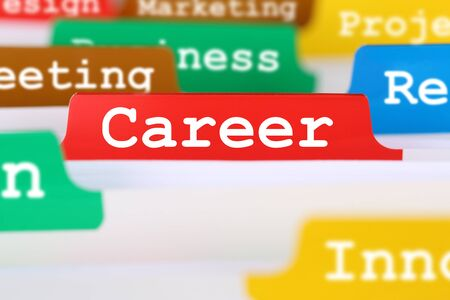 career development: Success career opportunities and development business concept