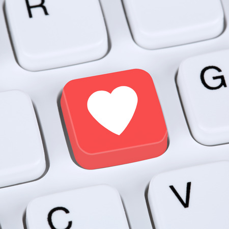 internet love: Internet concept searching partner and love online on digital dating computer