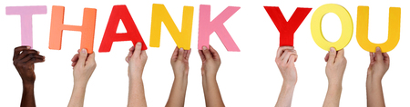 multi ethnic group: Multi ethnic group of people holding the word Thank You isolated Stock Photo