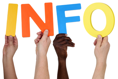 multi ethnic group: Multi ethnic group of people holding the word info isolated Stock Photo