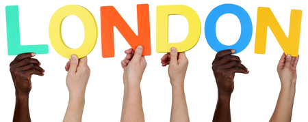 multi racial group: Multi ethnic group of people holding the word London isolated Stock Photo
