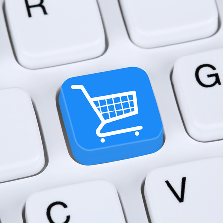 shopping order: Internet concept online shopping order e-commerce internet shop with shopping cart Stock Photo