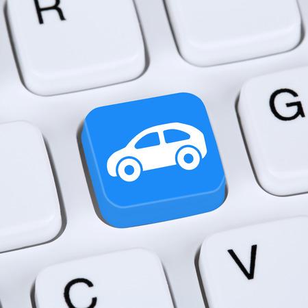 Internet concept verkopen of kopen van een auto online knoppictogram online op de computer Stockfoto - 39728334