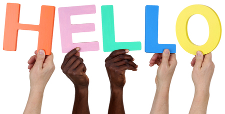 multi racial groups: Multi ethnic group of people holding the word hello isolated Stock Photo
