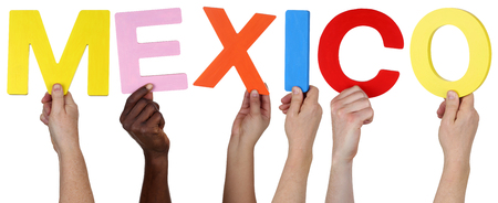 multi ethnic group: Multi ethnic group of people holding the word Mexico isolated