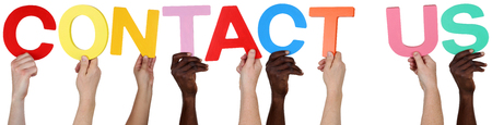 multi ethnic group: Multi ethnic group of people holding the word Contact Us isolated