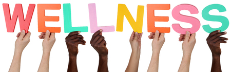 multi ethnic: Multi ethnic group of people holding the word wellness isolated