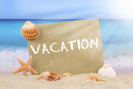 Beach scene in summer on vacation with sand, sea shells and stars