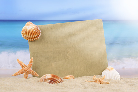 Beach scene in summer vacation with sea shells, stars and copyspace