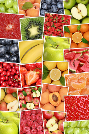 apples and oranges: Vegan and vegetarian fruits background with apples, oranges, lemons, banana and strawberry Stock Photo