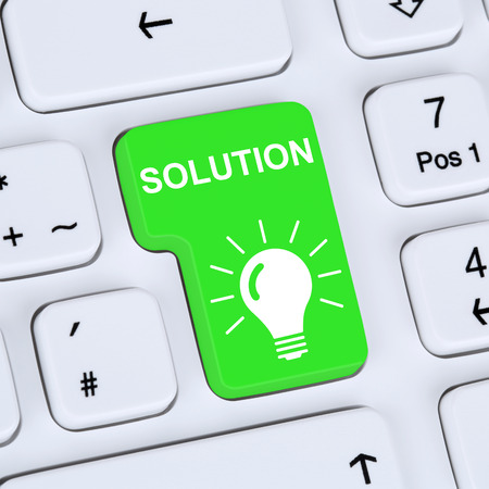 finding: Internet concept finding solution for problem conflict button online computer Stock Photo