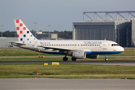 croatia: Frankfurt, Germany - September 17, 2014: A Croatia Airlines Airbus A319 taxiing at Frankfurt International Airport (FRA). Croatia Airlines is the Croatian flag carrier airline with its main hub at Zagreb airport. Editorial