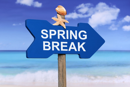 spring break: Spring Break on beach and sea in summer on vacation Stock Photo