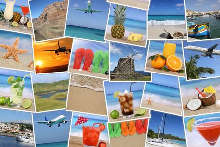 Achtergrond met foto's van de zomervakantie, strand, vakantie, drinken en zee