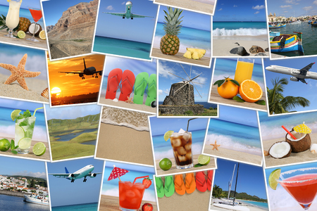 Background with photos from summer vacation, beach, holiday, drinks and sea