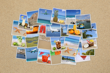 Photo cloud with summer vacation, beach, drinks, holiday, traveling on sand photo