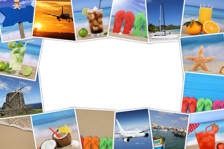 Frame With Photos From Summer Vacation, Drinks, Beach, Holiday ...