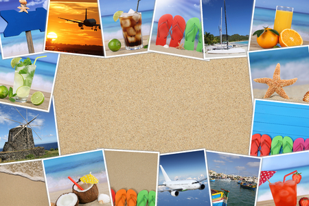 beach holiday: Frame with photos from summer vacation, sand, drinks, beach, holiday and copyspace Stock Photo
