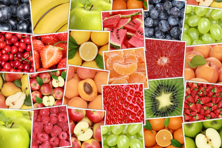 apples and oranges: Vegan and vegetarian fruits background with apples, oranges, strawberries, banana, cherries