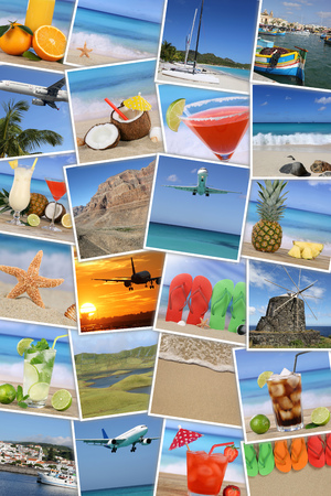 Background with photos from summer vacation, sun, beach, holiday, drinks and sea photo