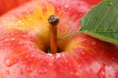 manzana roja: Closeup macro red apple fruit with leaf