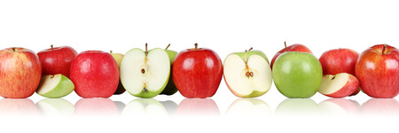 golden apple: Fresh apple fruits apples border in a row isolated on a white background