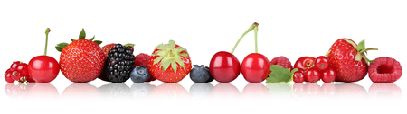 Berry fruits border strawberry raspberry, blueberry bilberry cherries in a row Stock Photo