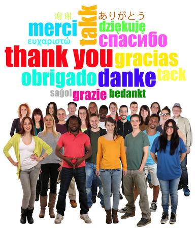 Grand groupe multi-ethnique de sourire des jeunes dire merci dans différentes langues Banque d'images