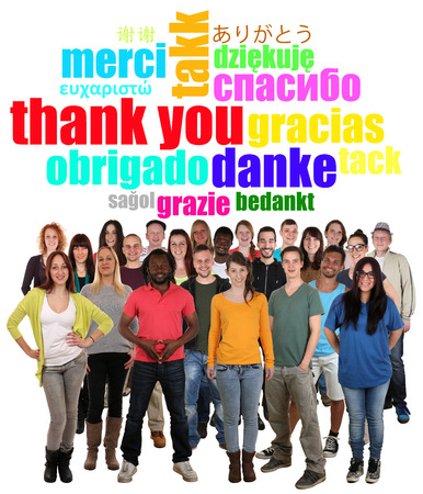 multi ethnic: Large multi ethnic group of smiling young people saying thank you in different languages