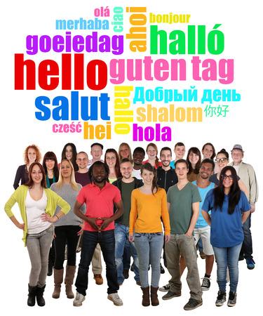 languages: Múltiples grande grupo étnico de los jóvenes sonrientes saludar en diferentes idiomas
